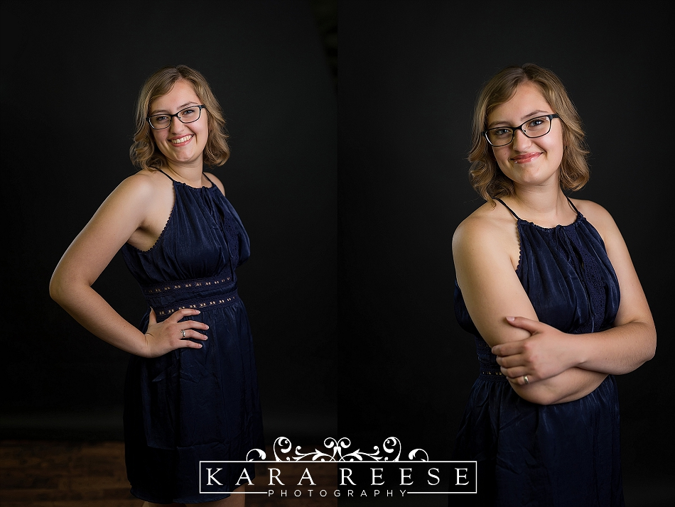senior picture in blue dress